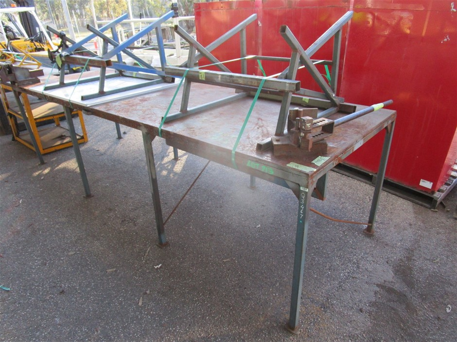(Lot 713) Steel Fabricated Work Bench and 4x Stands