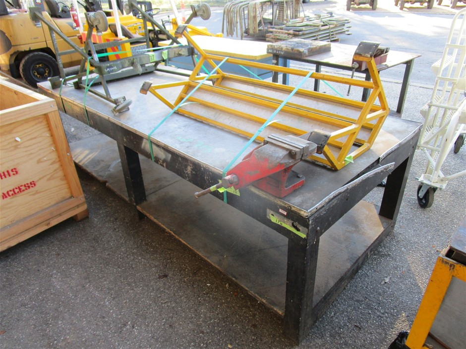 (Lot 715) Timber Fabricated Work Bench with Stands and Steps