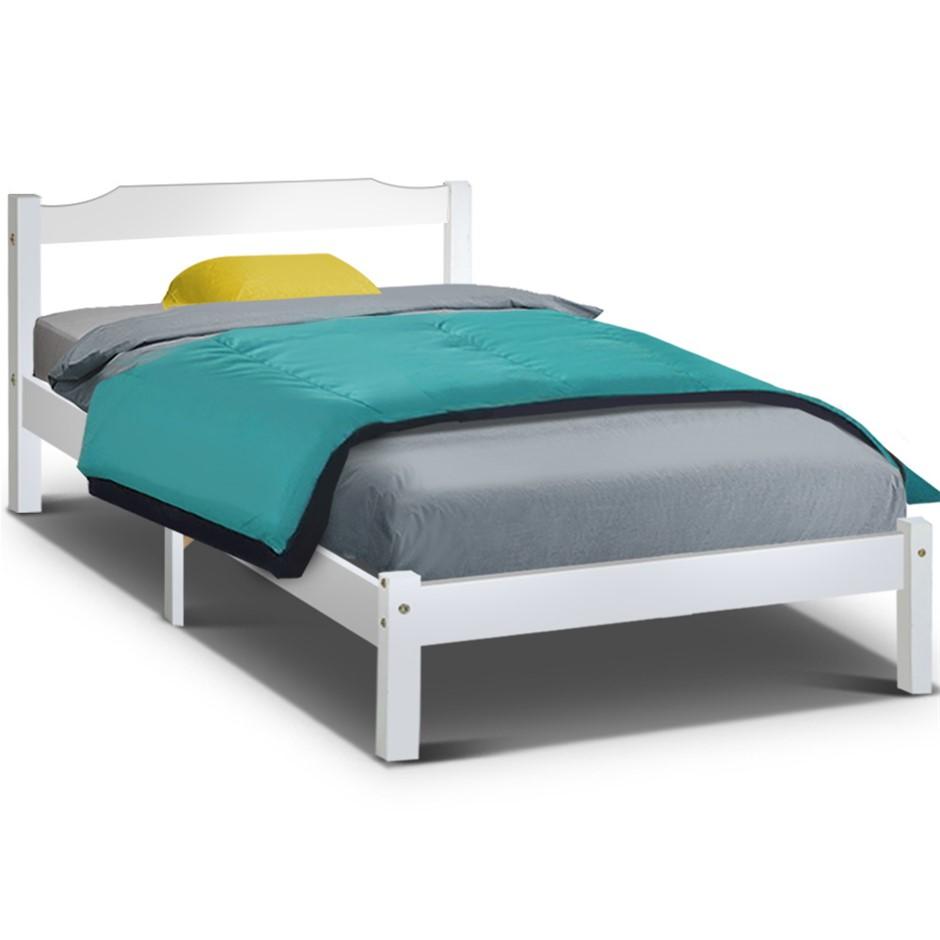 Artiss King Single Size Wooden Bed Frame Mattress Base Timber White