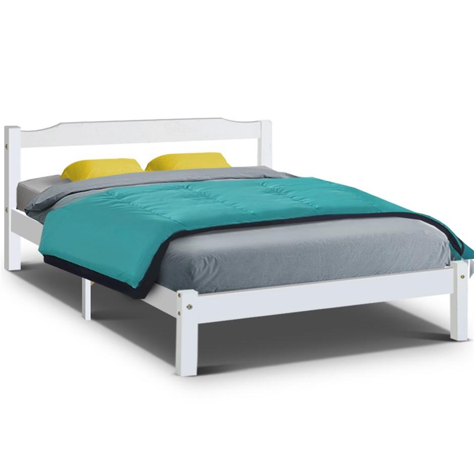 Artiss Queen Size Wooden Bed Frame Mattress Base Timber Platform White