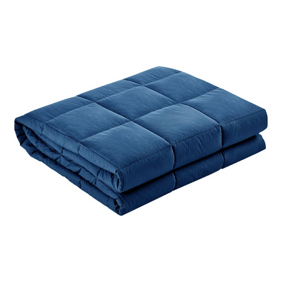 Giselle Bedding Cotton Weighted Gravity Blanket 7KG Deep Relax Adult Navy