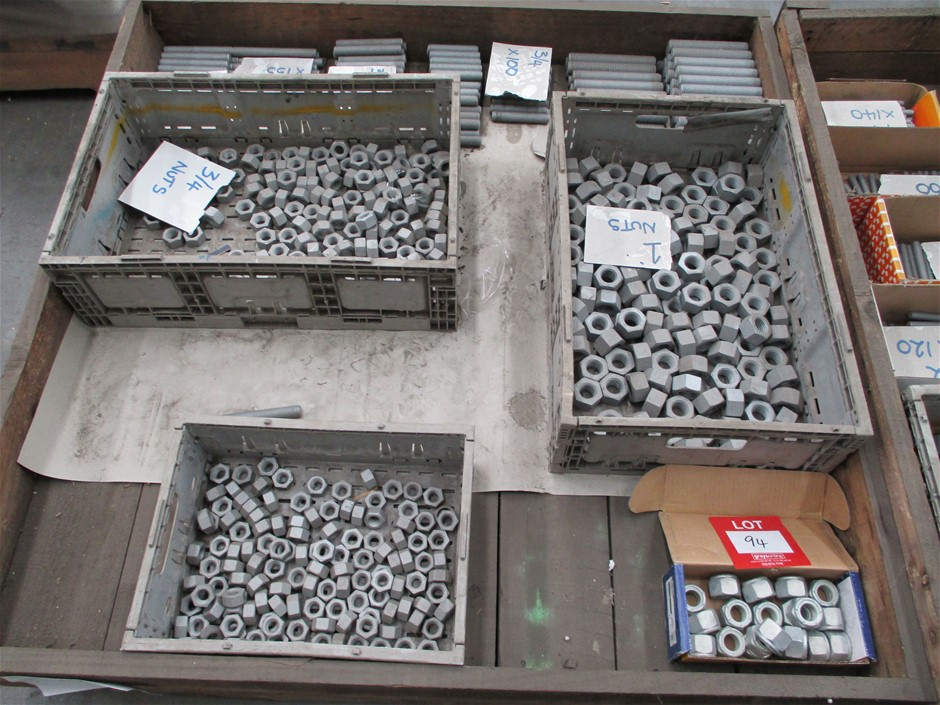 Pallet of Assorted Metal Nuts/Fittings