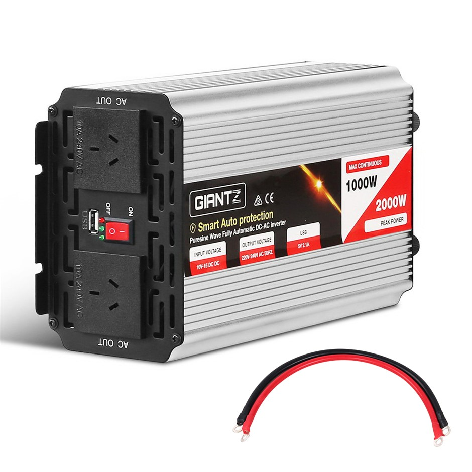 Giantz Power Inverter 1000W/2000W Pure Sine Wave 12V-240V Camping Boat