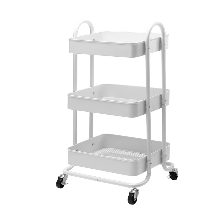 Artiss Kitchen Trolley Cart Portable 3 Tier Rolling Shelf Wheels Organiser