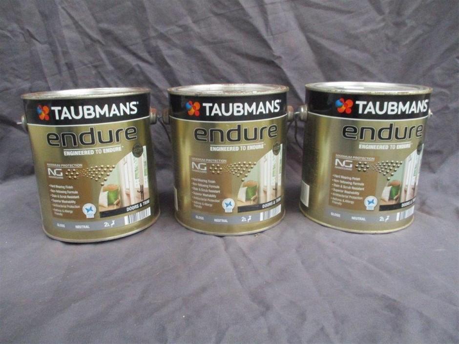 Qty 3 x Taubmans Endure 2 Litres Tin Paint