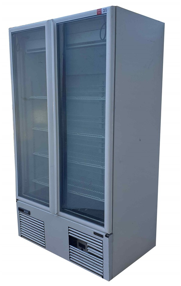 ORFORD SVDL30A MOBILE 2 GLASS DOOR UPRIGHT FREEZER. DIGITAL THERMOST