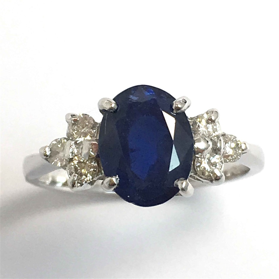 18ct White Gold, 3.17ct Blue Sapphire and Diamond Ring