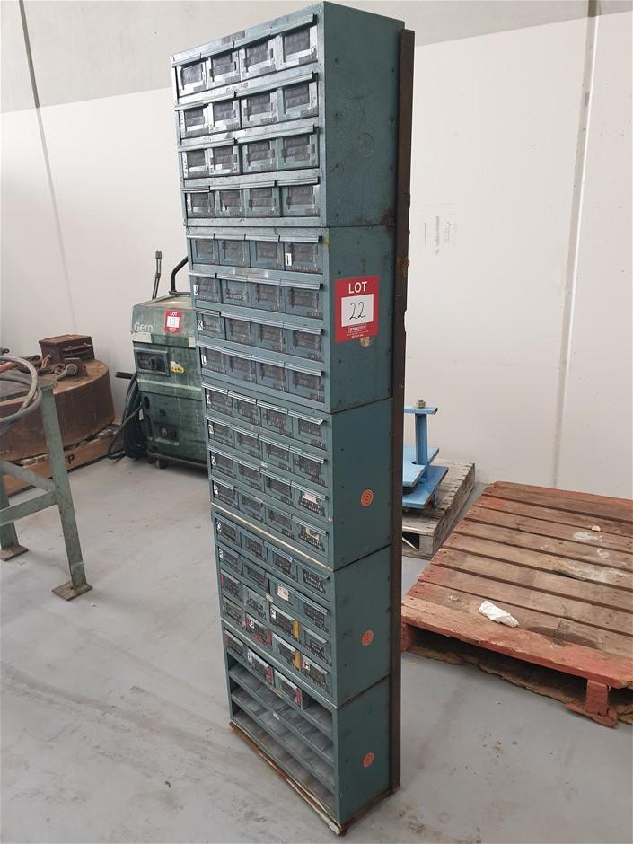 5 Metal Storage Draws - Bottom has drawers missing