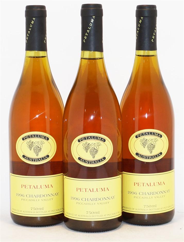 Petaluma Chardonnay 1996 (3x 750mL), Piccadilly Valley. Cork.