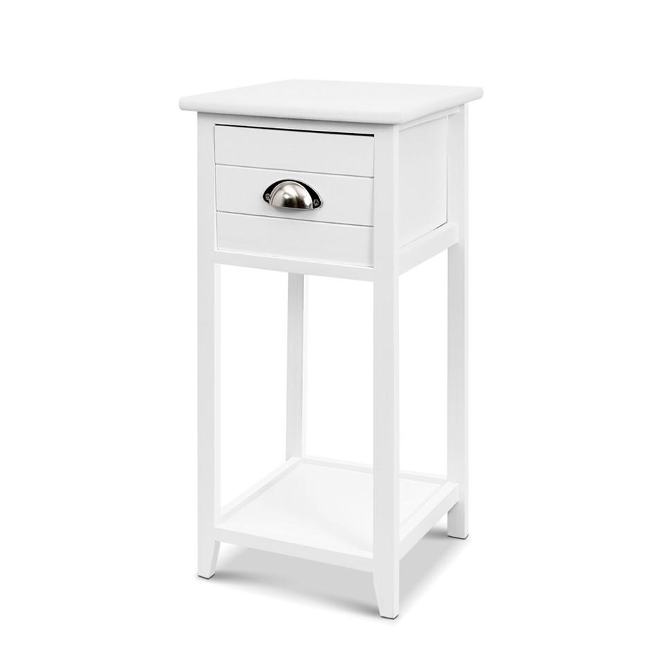 Artiss Bedside Table Nightstand Drawer Storage Cabinet Side Shelf White