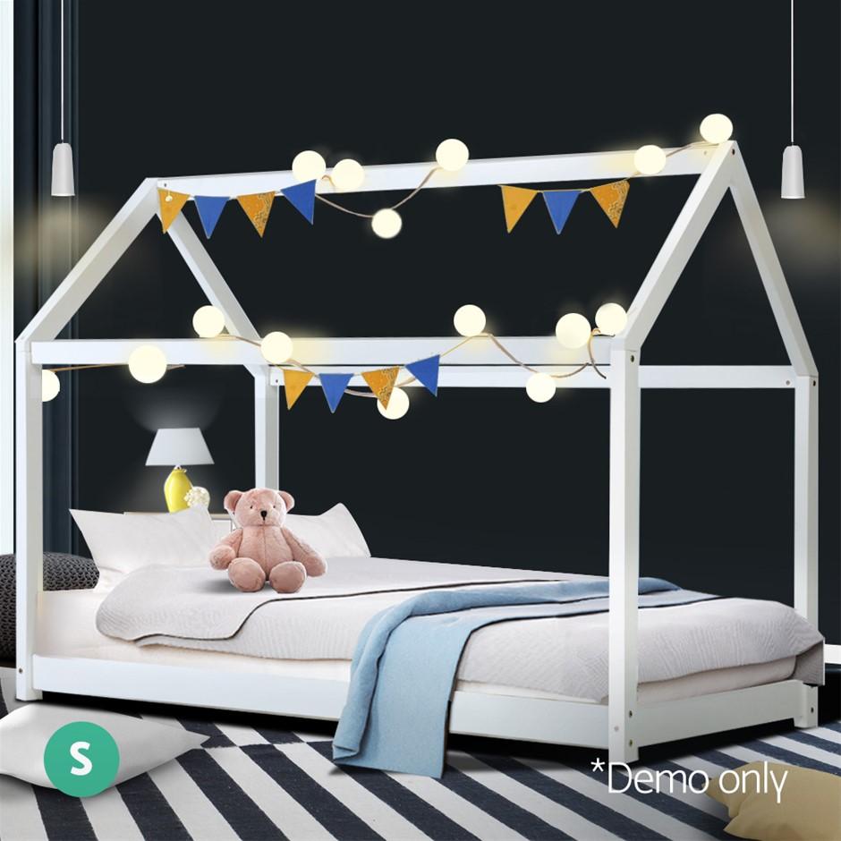 Artiss Single Size Wooden Bed Frame Mattress Base Pine Platform White