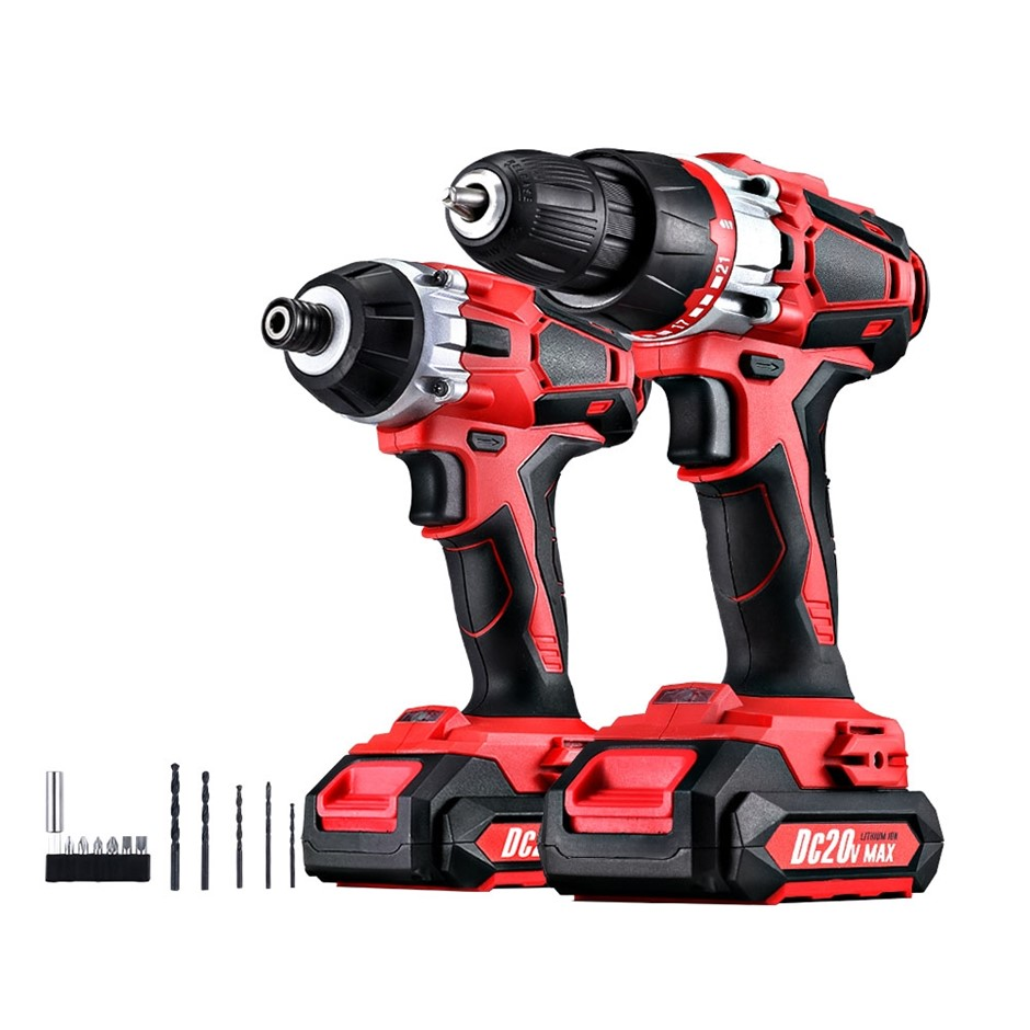 Giantz Cordless Impact Drill + Impact Driver 20V Lithium Drill Kit Charger