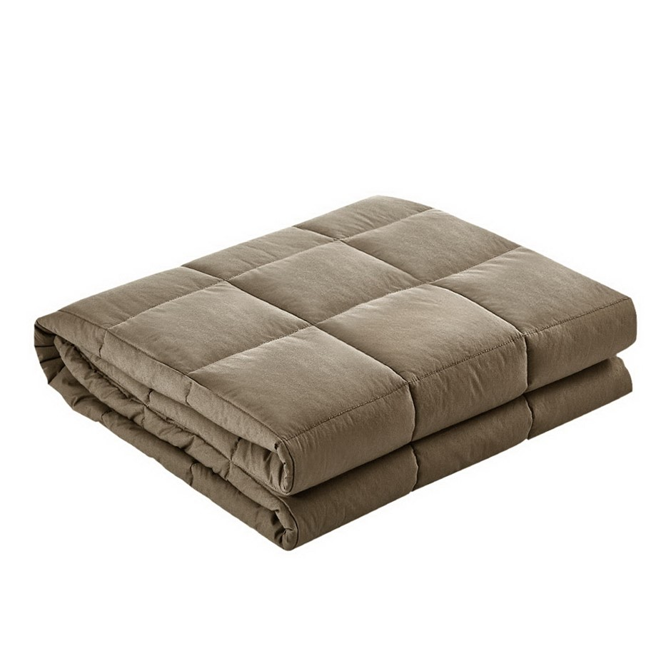 Giselle Bedding 7KG Cotton Gravity Weighted Blanket Deep Sleep Adult Brown