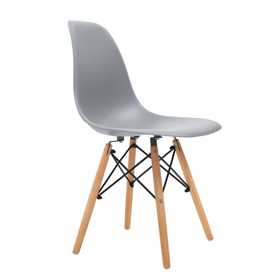 Artiss 4x Retro Replica Eames Dining DSW Chairs Cafe Beech Wood Legs Grey