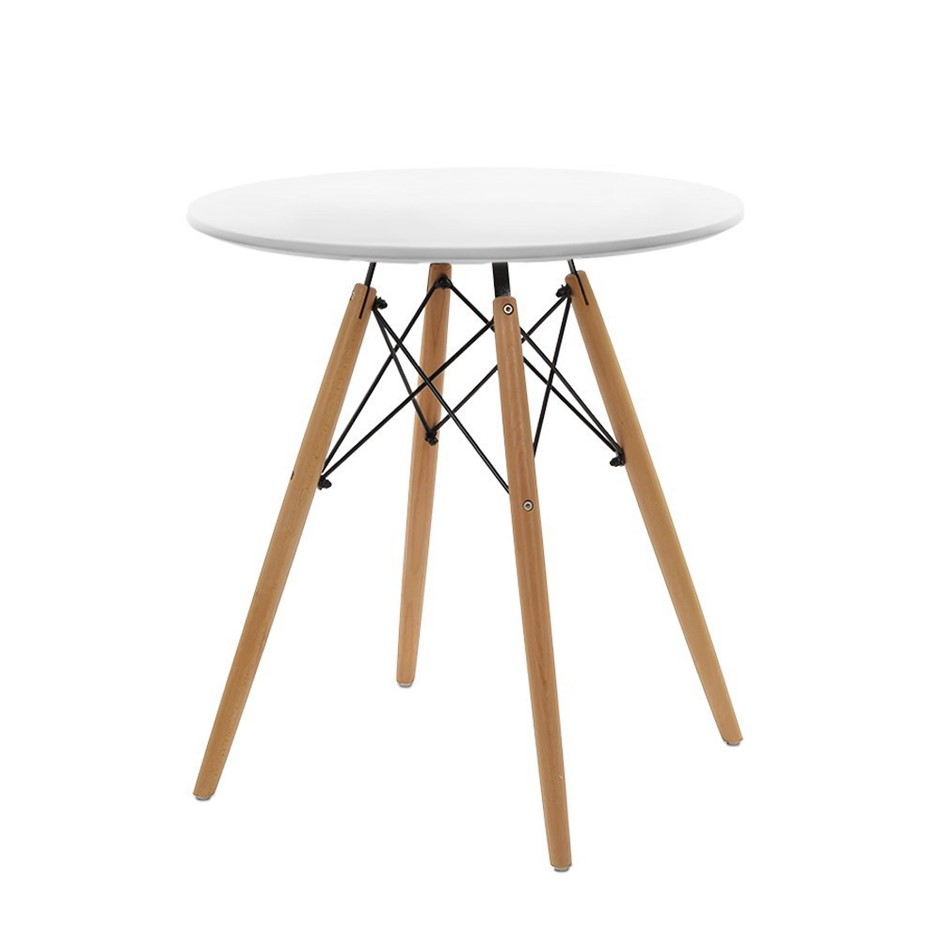 Artiss Replica Eames DSW Eiffel Dining Table 4 Seater Timber Round White
