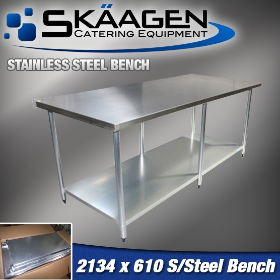 Unused 2134mm x 610mm Stainless Steel Bench