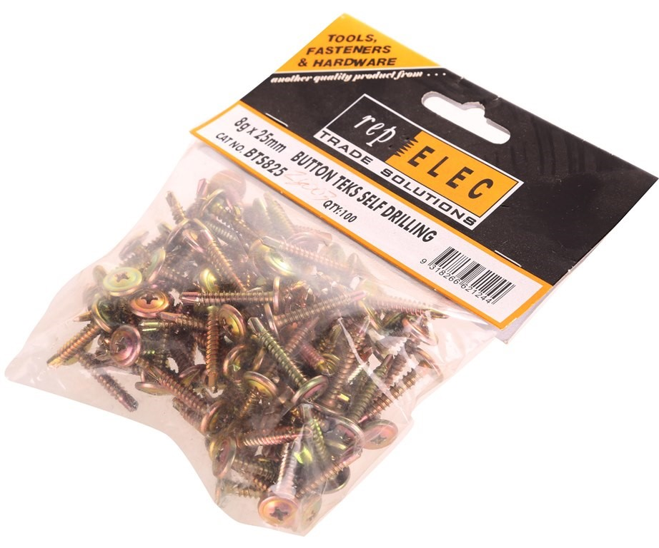 10 Packs of 100 x Button Teks Self Drilling Screws 8g x 25mm Buyers Note -