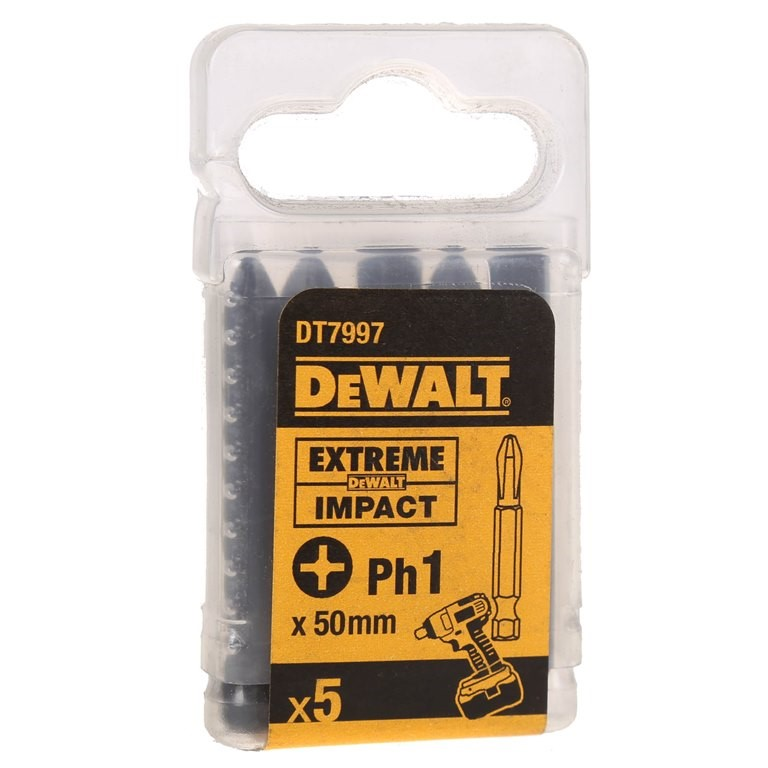 20 x Packs of 5 DeWALT Impact Bits PH1x50mm. (SN:DT7997-QZ-K20) (268725-145