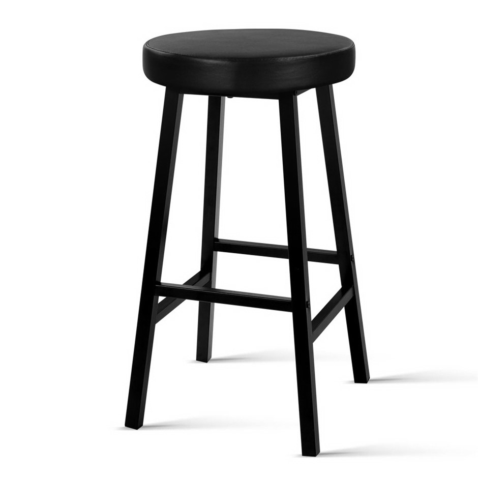 Artiss 2 x Vintage Kitchen Bar Stools Industrial Leather Black Retro
