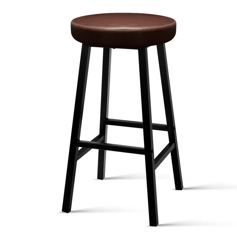 Artiss 2 x Vintage Kitchen Bar Stools Industrial Leather Brown Retro
