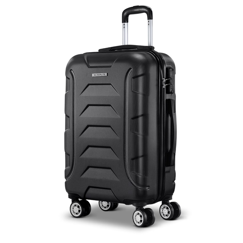 "Wanderlite 20"" Luggage Sets Suitcase Trolley Travel Hard Case Black"