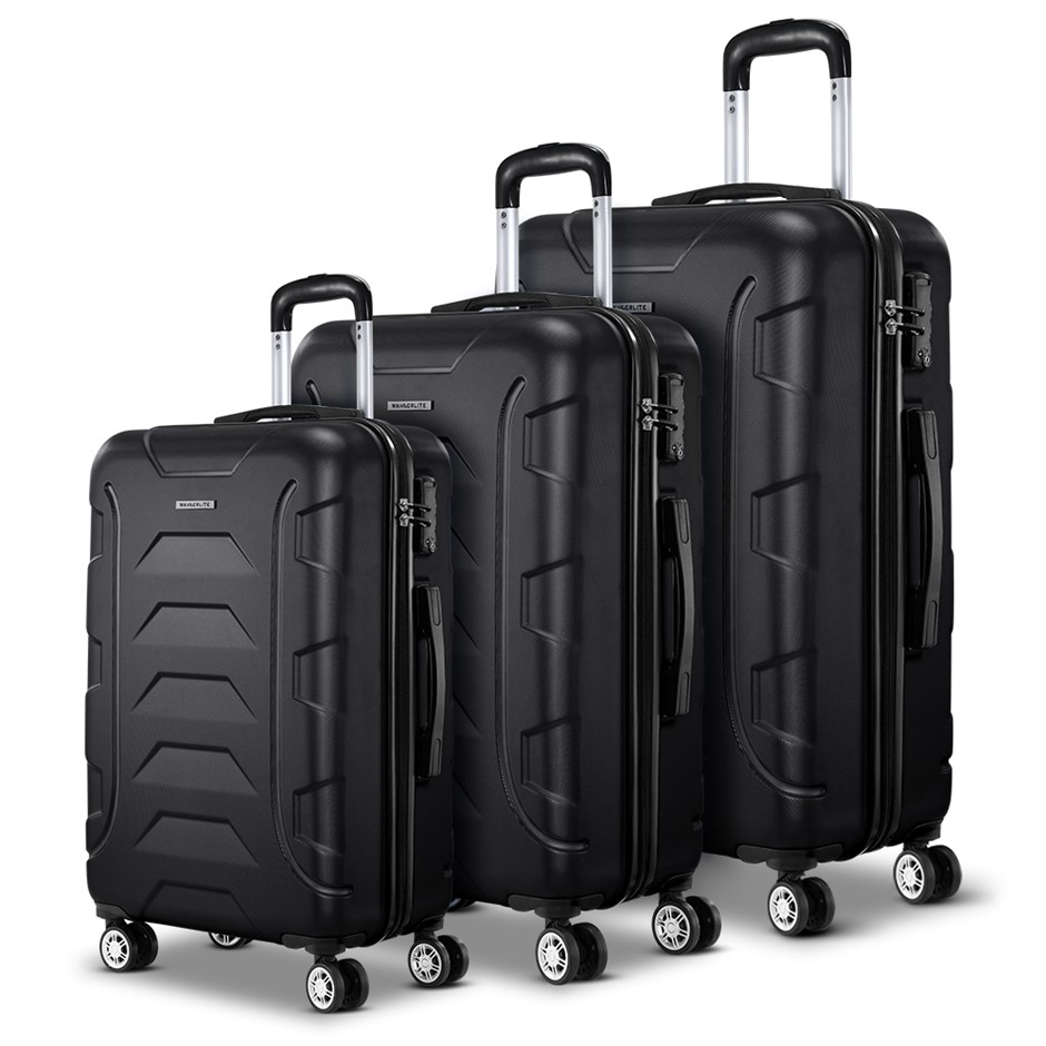 Wanderlite 3PCS Carry On Luggage Sets Suitcase TSA Travel Hard Case Black