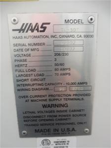2002 HAAS SL-30T CNC Lathe (Athol Park, SA) Haas Wiring Diagram on