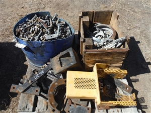 Pallet of Various Bolts, Clamps & Pump M