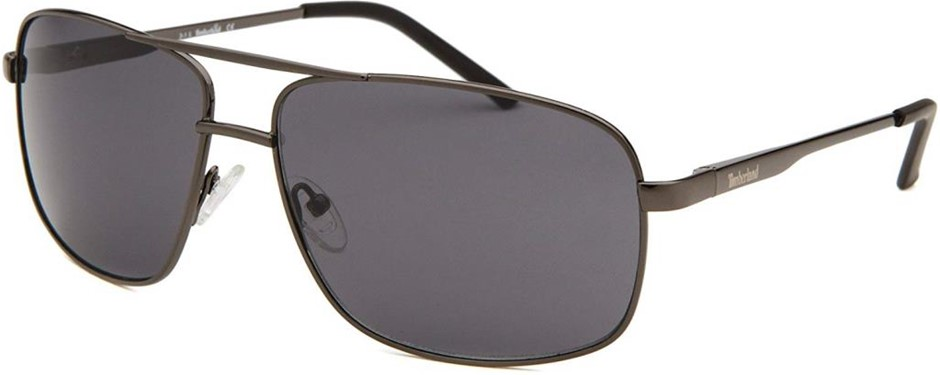 TIMBERLAND Men`s Aviator Style Sunglasses, Gunmetal, Smoke Gradient Lens. B