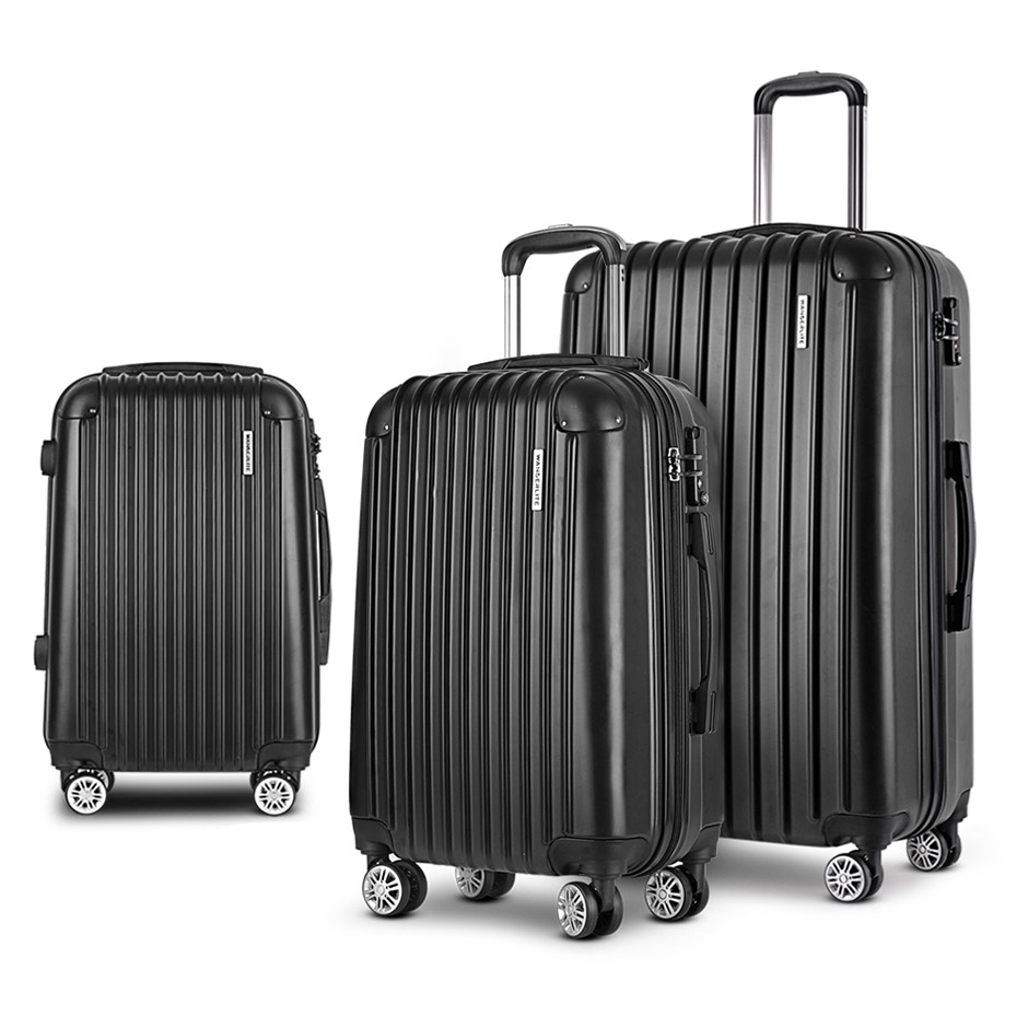 Wanderlite 3pc Luggage Set Suitcases Set Travel Hard Case Lightweight Black