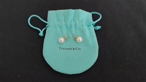 Pair of Tiffany & Co Pearl Silver Stud E