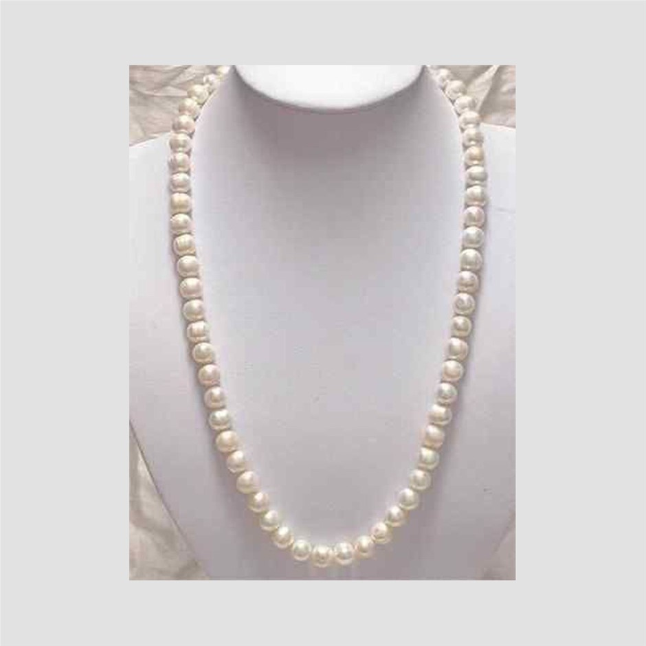 """7-8mm White Akoya Cultured Pearl Necklace 25"""""""