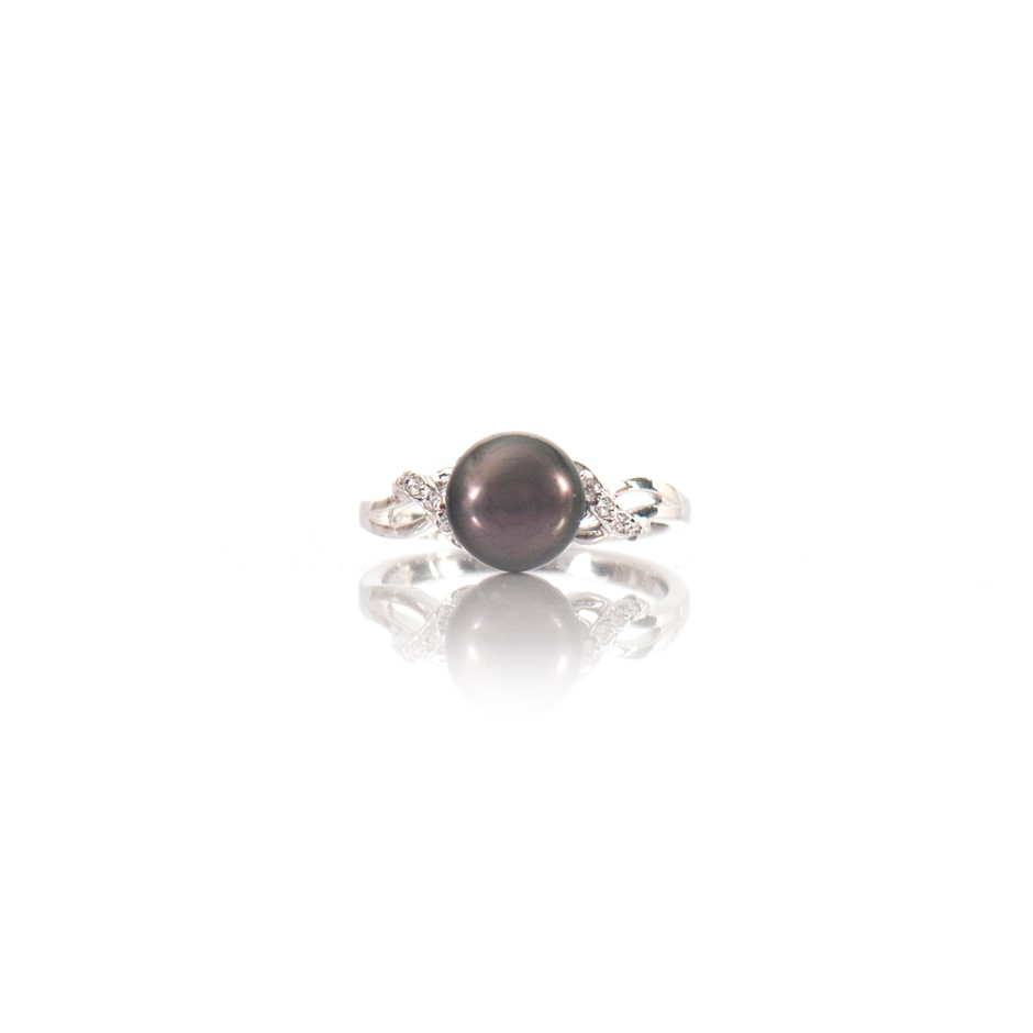 Natural Freshwater Black Pearl & Cubic Zirconia Set Ring
