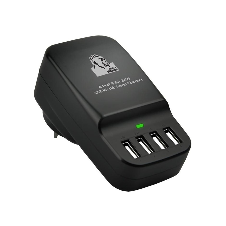 mbeat CHGR-4U-BLK Gorillia Power 34W 4 Port USB travel charger
