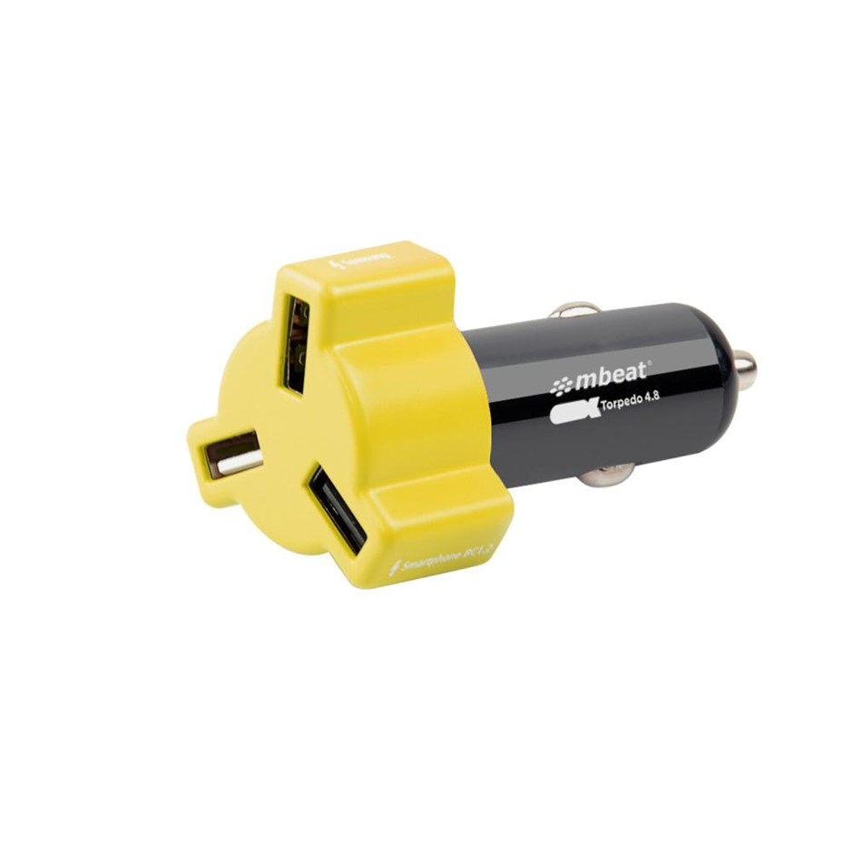 mbeat CHGR-348-YEL Yellow color 3-port 4.8A 24W rapid car charger