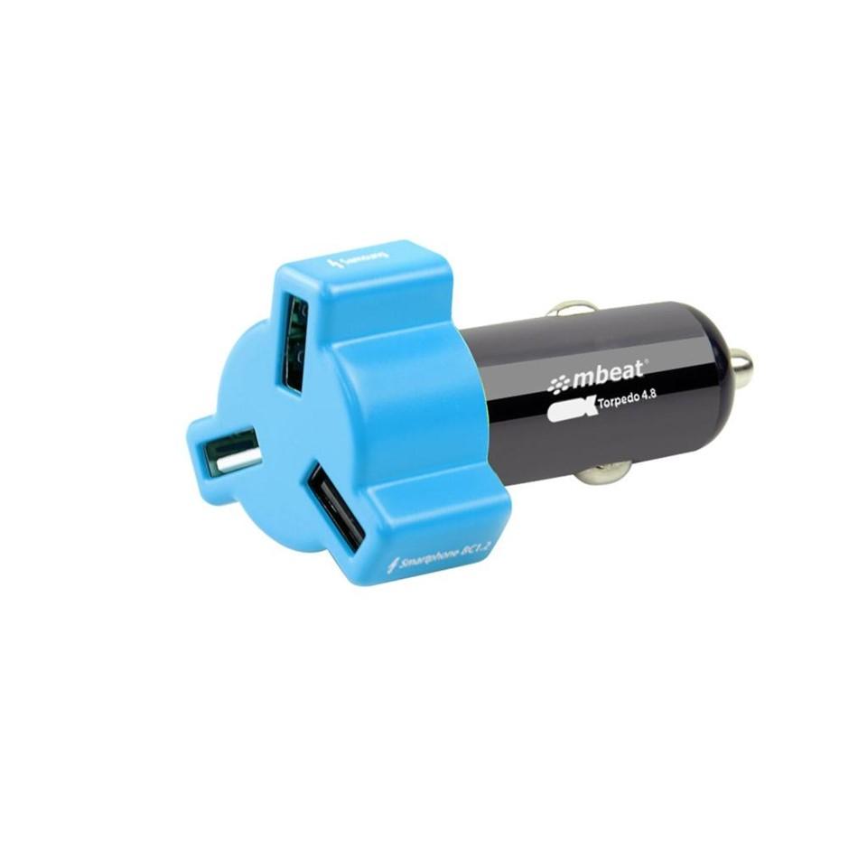 mbeat CHGR-348-BLU Blue color 3-port 4.8A 24W rapid car charger