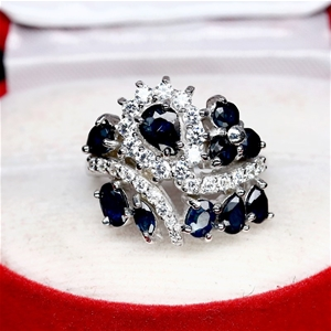 Natural Midnight Blue Sapphire Cluster R