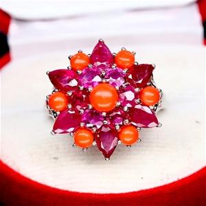 Striking Genuine Orange Coral & Red Ruby
