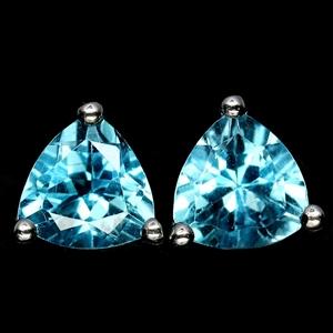 Striking Genuine Swiss Blue Topaz Earrin
