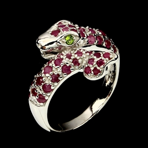 Genuine Ruby Cobra Ring Made in solid st