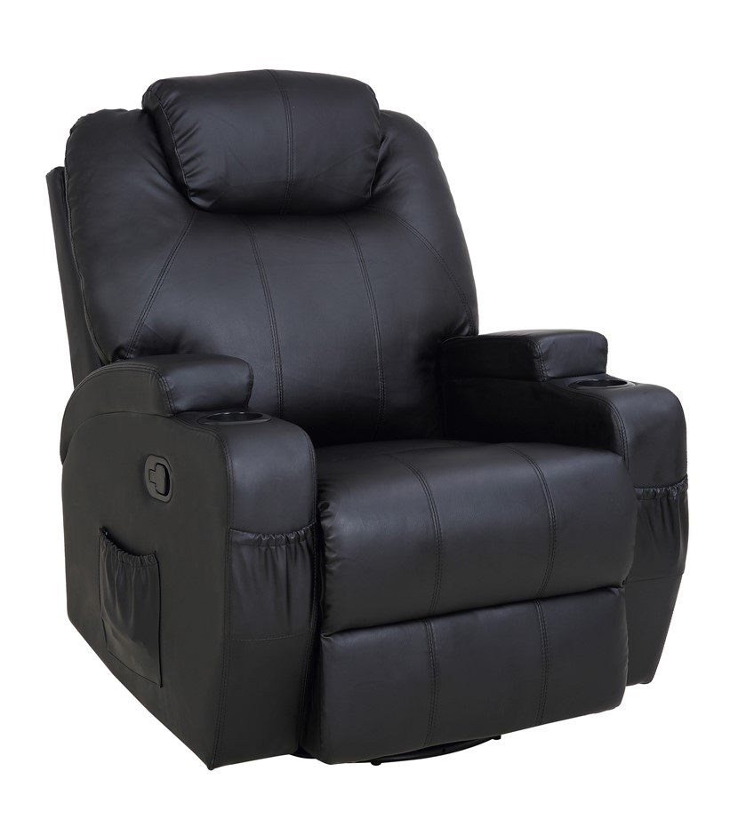 Massage Sofa Chair Recliner 360 Degree Swivel PU Leather Lounge