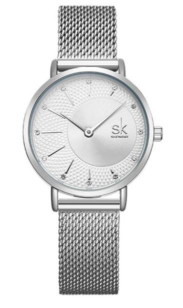 SK Women Elegant & Luxury Watch Miyota movement White Gold Mesh Bracelet