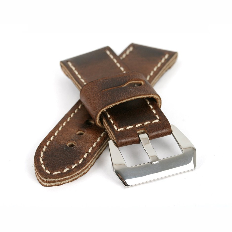 Dark Brown Genuine Leather ammo Strap Stitch 26/26 with Buckle