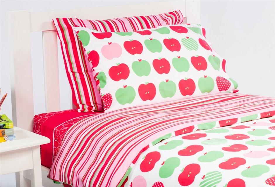 Kids Quilt Cover Set, Apples / Stripe - Single Size