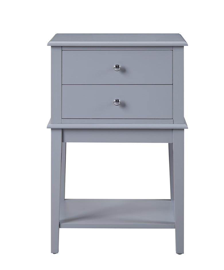 Chloe 2 Drawer Side Table - Grey