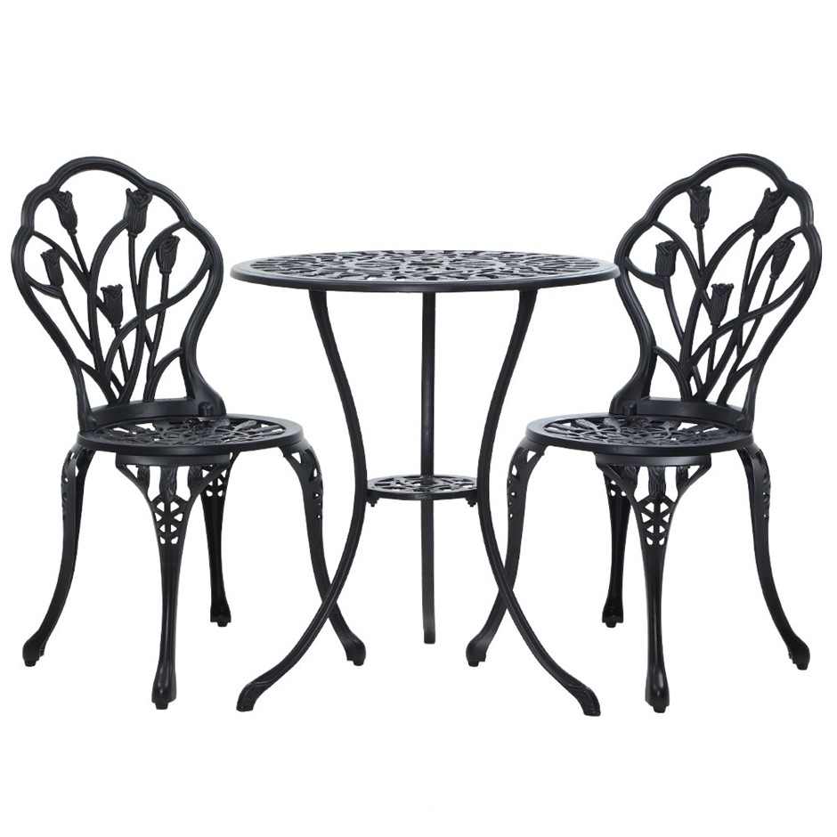 Gardeon 3PC Outdoor Setting Cast Aluminium Bistro Table Chair Black 1018