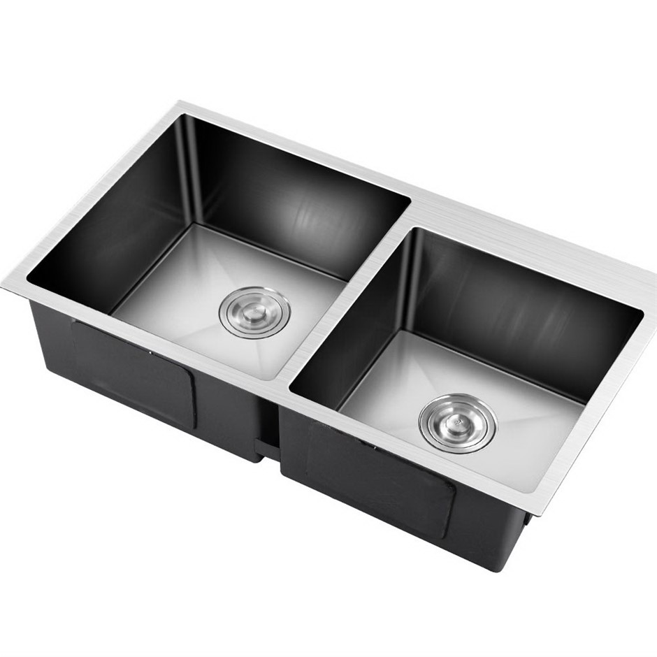 Cefito Stainless Steel Kitchen Sink 800x450MM Double Bowl Sinks Strainer