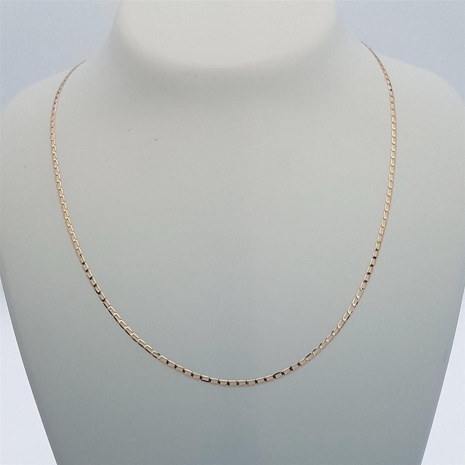 9ct Rose Gold, 1.30g Italian Solid Chain Necklace
