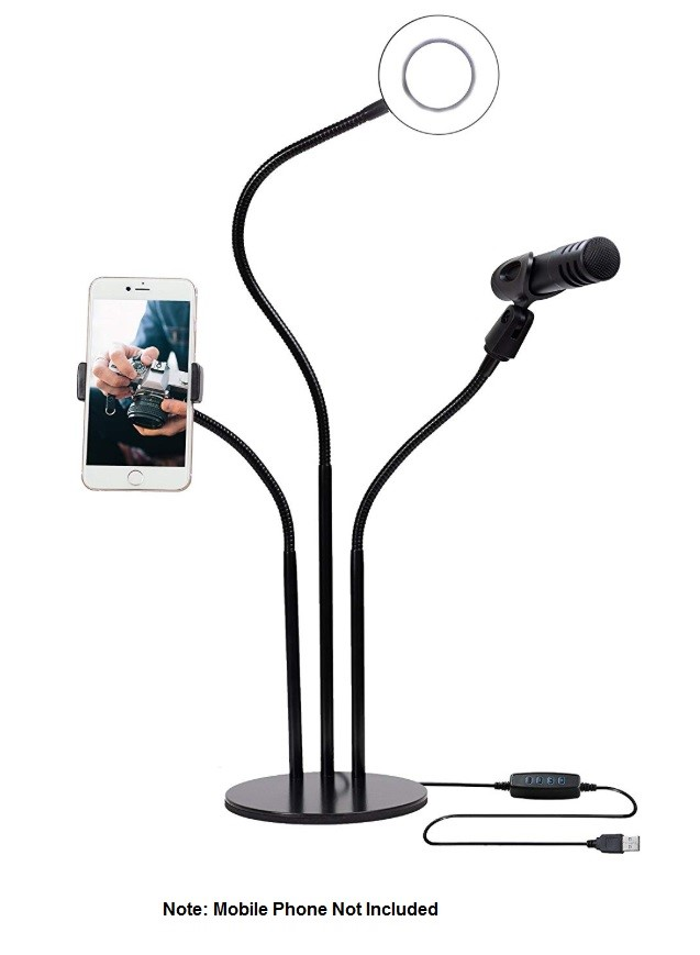 Mobile Live Stream - Ring Light Stand with Cell Phone Holder & Mic Clip