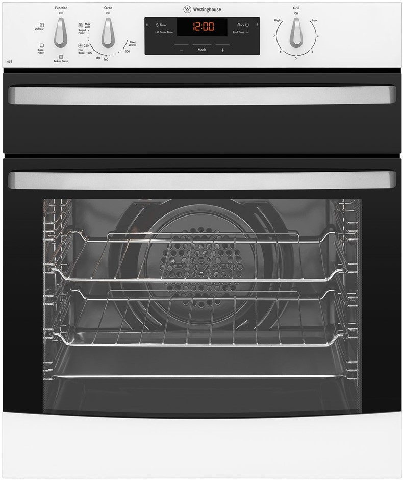 Westinghouse 60cm Underbench Oven with Separate Grill (White)(WVE655W)